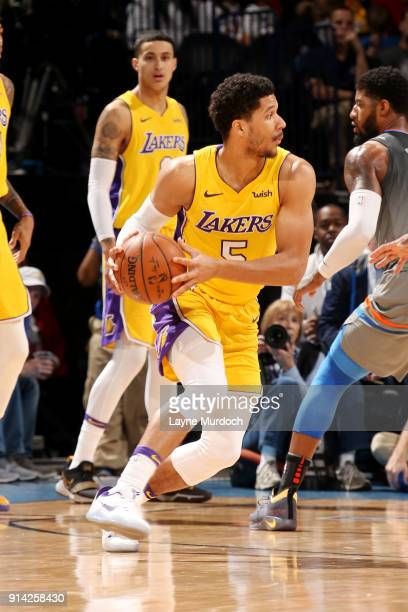 Josh Hart of the Los Angeles Lakers handles the ball during the game against the Oklahoma City Thunder on February 4 2018 at Chesapeake Energy Arena...
