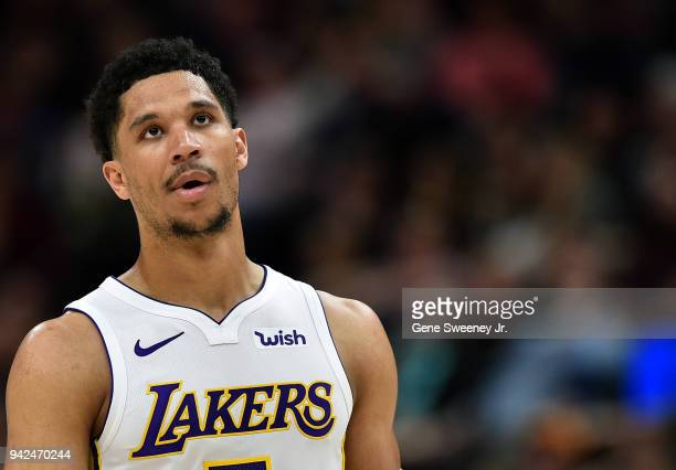 Josh Hart of the Los Angeles Lakers looks on against the Utah Jazz in a game at Vivint Smart Home Arena on April 3 2018 in Salt Lake City Utah NOTE...