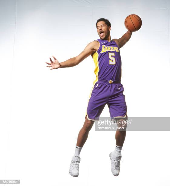 Josh Hart of the los Angeles Lakers poses for a photo during the 2017 NBA Rookie Shoot on August 11 2017 at the Madison Square Garden Training Center...