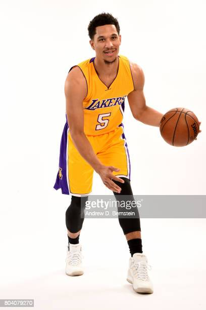 Josh Hart of the Los Angeles Lakers poses for a portrait after being introduced to the team at a press conference on June 29 2017 in El Segundo...
