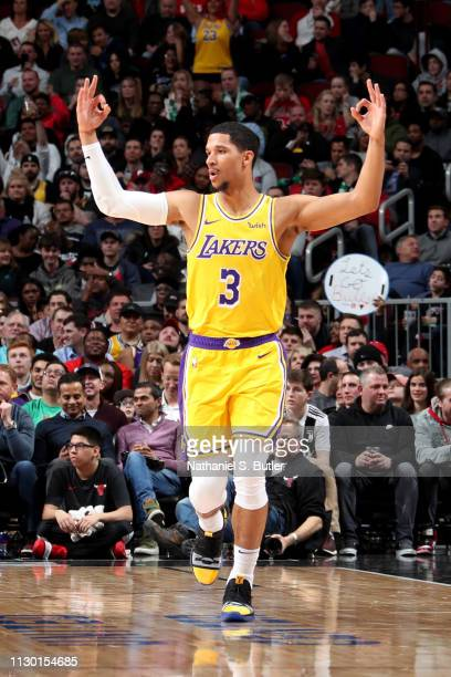 85681617b4a0 Josh Hart of the Los Angeles Lakers reacts against the Chicago Bulls on  March 12 2019
