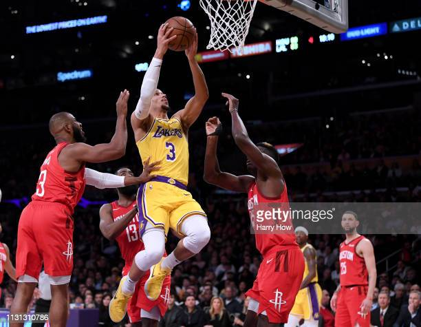 Josh Hart of the Los Angeles Lakers scores on a layup during a 111106 win over the Houston Rockets at Staples Center on February 21 2019 in Los...