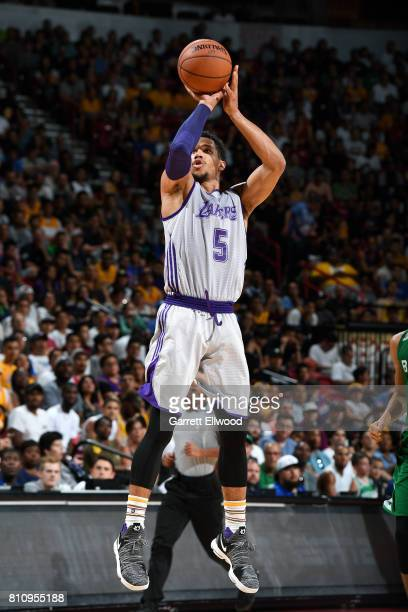 Josh Hart of the Los Angeles Lakers shoots the ball during the game against the Boston Celtics during the 2017 Las Vegas Summer League on July 8 2017...