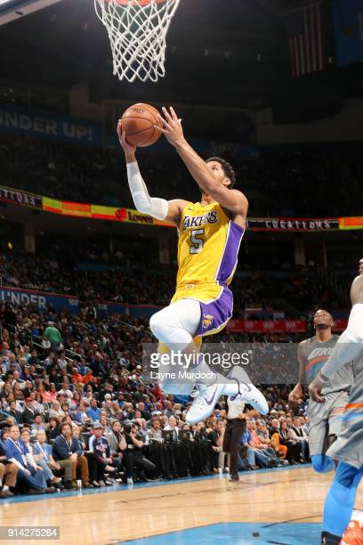 Josh Hart of the Los Angeles Lakers shoots the ball during the game against the Oklahoma City Thunder on February 4 2018 at Chesapeake Energy Arena...