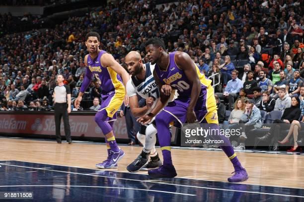 Josh Hart of the Los Angeles Lakers Taj Gibson of the Minnesota Timberwolves and Julius Randle of the Los Angeles Lakers box out during the game...