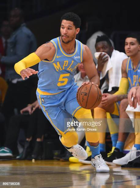 Josh Hart of the Los Angeles Lakers takes the ball down court in the game against the Memphis Grizzlies at Staples Center on December 27 2017 in Los...
