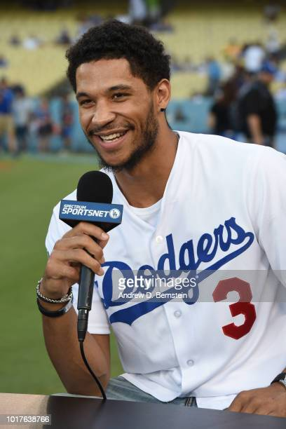 52afc838bd0b Josh Hart of the Los Angeles Lakers talks to the media during the Dodger  game at