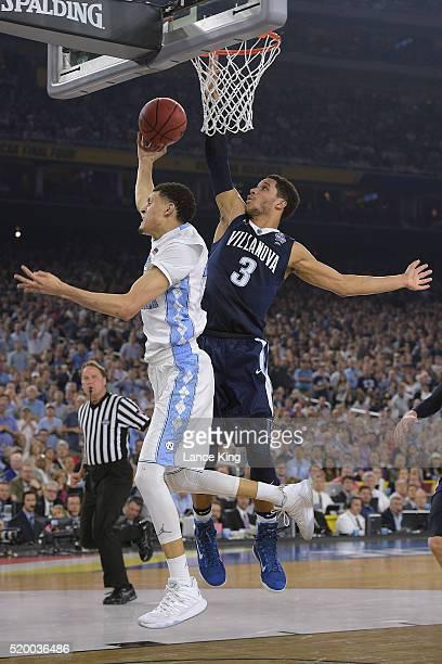 Josh Hart of the Villanova Wildcats blocks a shot by Justin Jackson of the North Carolina Tar Heels during the 2016 NCAA Men's Final Four...