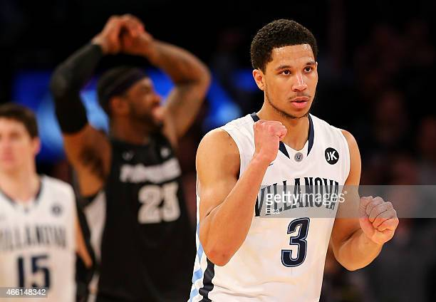 Josh Hart of the Villanova Wildcats celebrates against the Providence Friars during a semifinal game of the Big East basketball tournament at Madison...