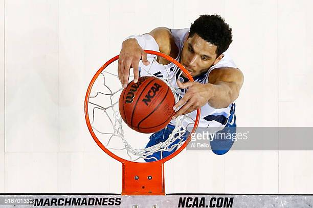 Josh Hart of the Villanova Wildcats dunks against the Iowa Hawkeyes in the first half during the second round of the 2016 NCAA Men's Basketball...