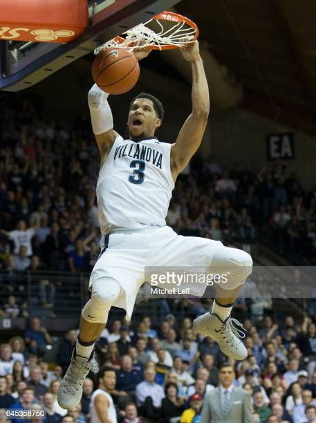 Josh Hart of the Villanova Wildcats dunks the ball against the Creighton Bluejays in the second half at the Pavilion on February 25 2017 in Villanova...