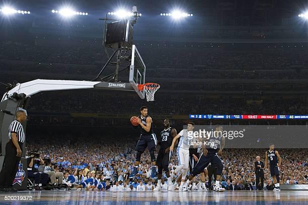 Josh Hart of the Villanova Wildcats gets a defensive rebound against the North Carolina Tar Heels during the 2016 NCAA Men's Final Four Championship...