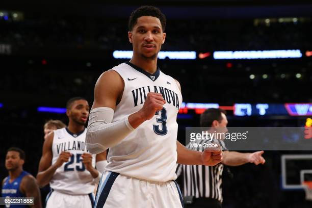 Josh Hart of the Villanova Wildcats pumps his fist after a call against the Creighton Bluejays during the Big East Basketball Tournament Championship...