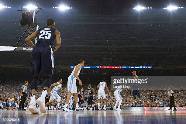 Josh Hart of the Villanova Wildcats puts up a shot against the North Carolina Tar Heels during the 2016 NCAA Men's Final Four Championship at NRG...