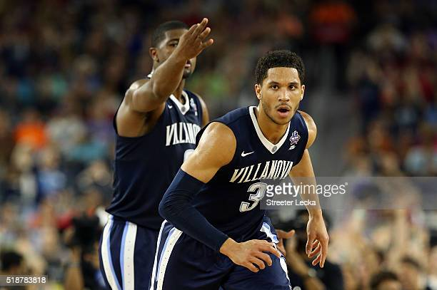 Josh Hart of the Villanova Wildcats reacts in the first half against the Oklahoma Sooners during the NCAA Men's Final Four Semifinal at NRG Stadium...