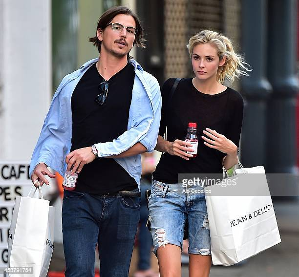 Josh Hartnett and Tamsin Egertonon are seen in Soho August 18 2014 in New York City