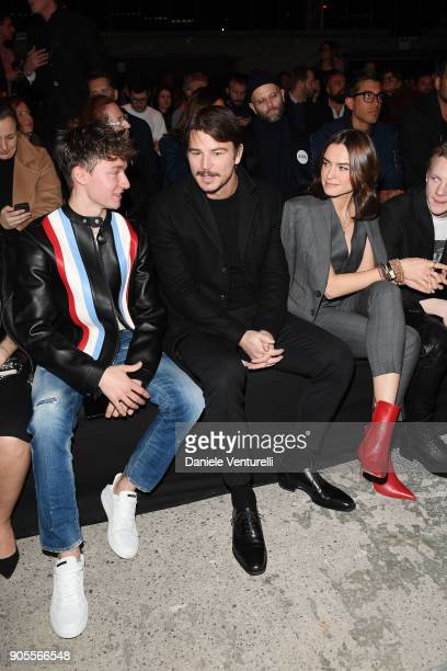 Josh Hartnett Kasia Smutniak and a guest attend the Dsquared2 show during Milan Men#39s Fashion Week Fall/Winter 2018/19 on January 14 2018 in Milan...