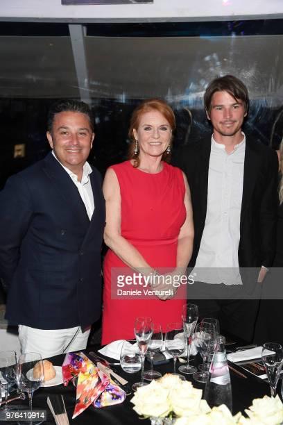 Josh Hartnett Sarah Ferguson and FrancoisMarc Sastre attend the 'Filming Italy Sardegna Festival' Dinner at Forte Village Resort on June 16 2018 in...