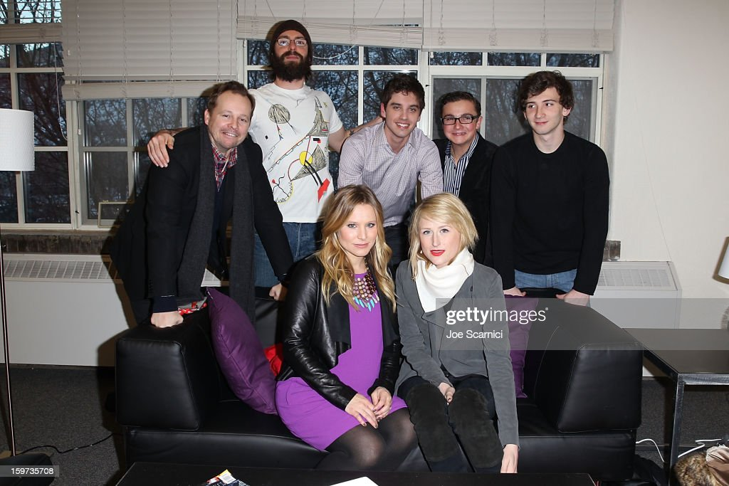 Josh Harto, Martin Starr, David Lambert, Paulie Litt and Alex Shaffer (L-R Front Row) Kristen Bell and Mamie Gummer pose for a photo in the green room before at 'The Lifeguard' Premiere - 2013 Sundance Film Festival at Library Center Theater on January 19, 2013 in Park City, Utah.
