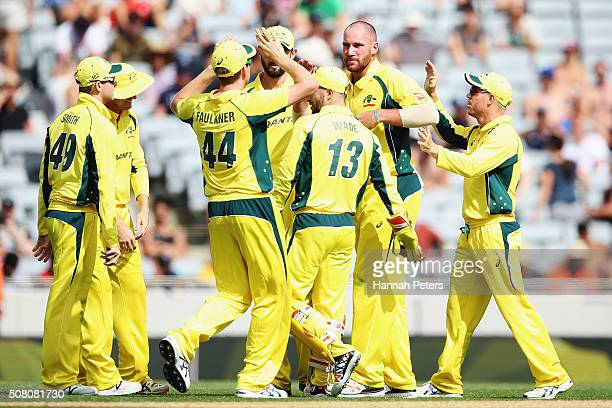 Josh Hastings of Australia celebrates the wicket of Corey Anderson of the Black Caps during the One Day International match between New Zealand and...