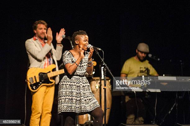 Josh Hawks Zolani Mahola and Seredeal Shaggy Scheepers of Freshlyground perform on stage for Mandela Day Concert at Edinburgh Jazz Blues Festival at...