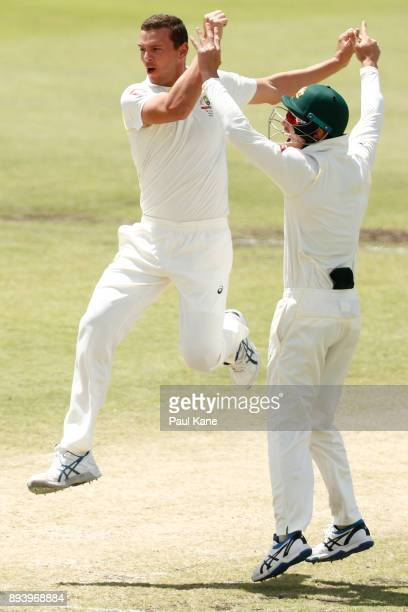 Josh Hazlewood and Cameron Bancroft of Australia celebrate the wicket of Mark Stoneman of England during day four of the Third Test match during the...