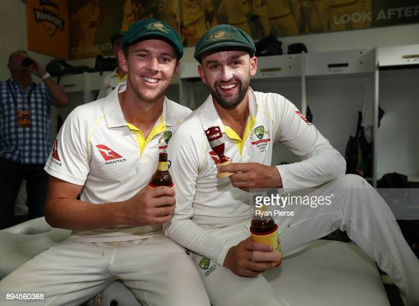 Josh Hazlewood and Nathan Lyon of Australia celebrate in the changerooms after Australia regained the Ashes during day five of the Third Test match...