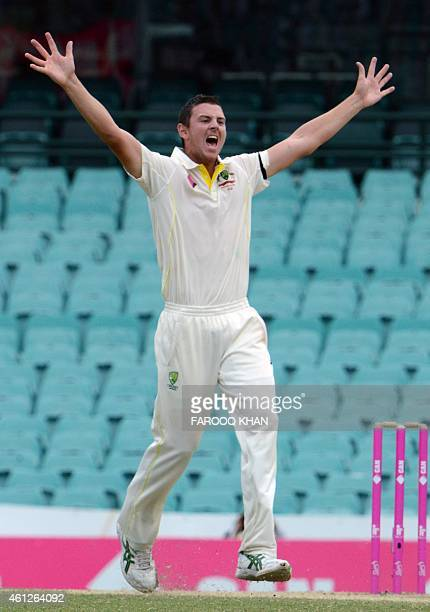 Josh Hazlewood appeals for LBW against India's Ravi Ashwin during the final day of the fourth Test between Australia and India at the Sydney Cricket...