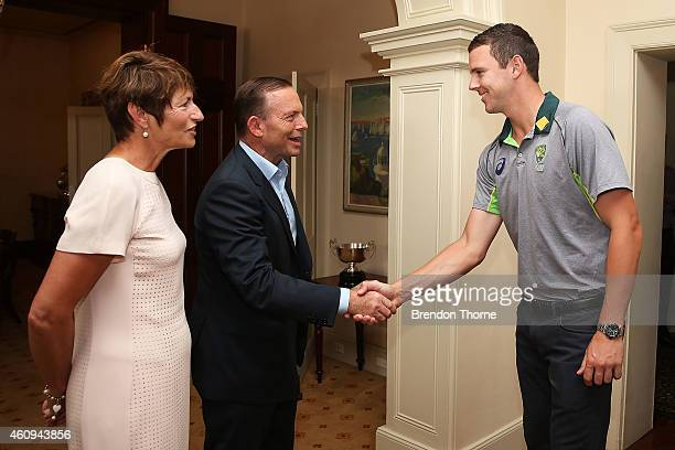 Josh Hazlewood meets with Australian Prime Minister Tony Abbott and his wife Margaret Abbott during the Australian and Indian cricket team visit at...
