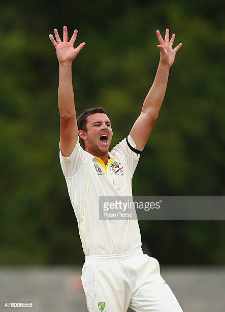 Josh Hazlewood of Australia appeals for a wicket during day three of the First Test match between Australia and the West Indies at Windsor Park on...