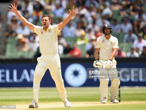 Josh Hazlewood of Australia appeals for the wicket of Dawid Malan of England during day three of the Fourth Test Match in the 2017/18 Ashes series...
