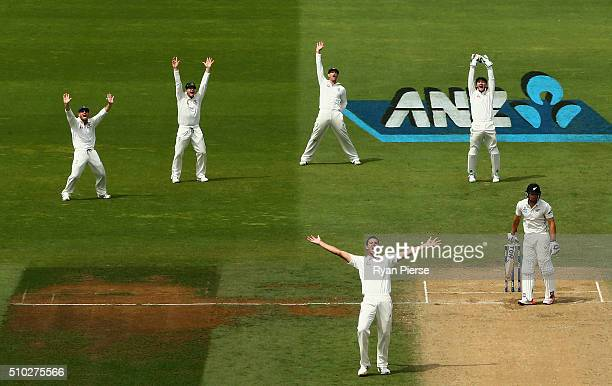 Josh Hazlewood of Australia appeals for the wicket of Doug Bracewell of New Zealand during day four of the Test match between New Zealand and...
