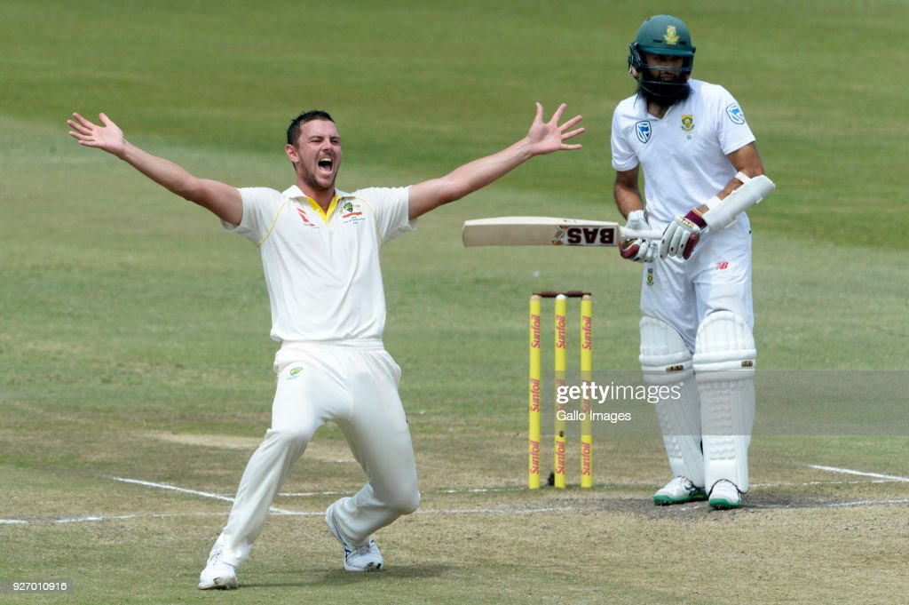 Josh Hazlewood of Australia appeals for the wicket of Hashim Amla of the Proteas during day 4 of the 1st Sunfoil Test match between South Africa and Australia at Sahara Stadium Kingsmead on March 04, 2018 in Durban, South Africa.