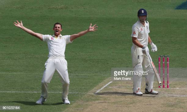 Josh Hazlewood of Australia appeals successfully for the wicket of Alastair Cook of England during day one of the Fifth Test match in the 2017/18...