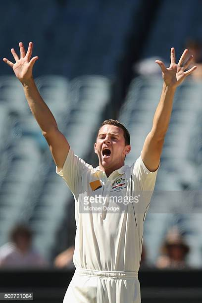 Josh Hazlewood of Australia appeals unsuccessfully for a LBW during day four of the Second Test match between Australia and the West Indies at...
