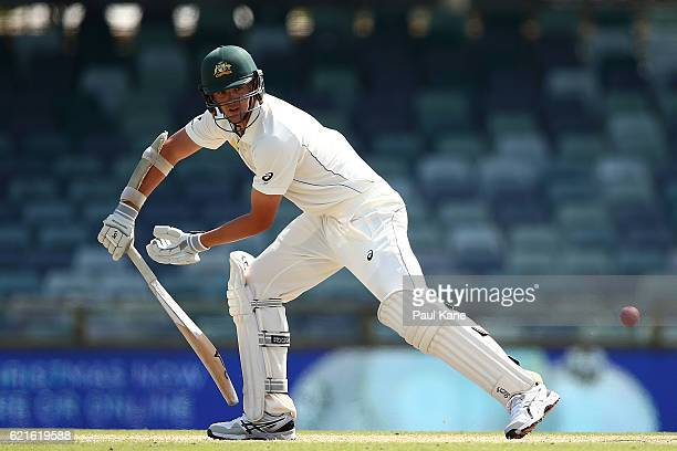 Josh Hazlewood of Australia bats during day five of the First Test match between Australia and South Africa at the WACA on November 7 2016 in Perth...