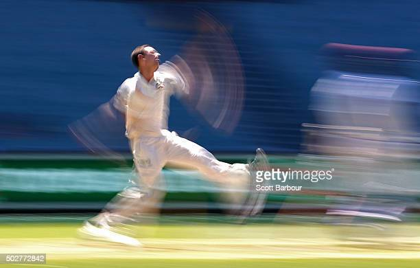 Josh Hazlewood of Australia bowls during day four of the Second Test match between Australia and the West Indies at the Melbourne Cricket Ground on...