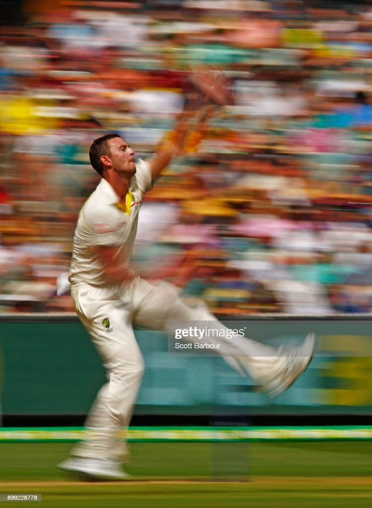 Josh Hazlewood of Australia bowls during day three of the Fourth Test Match in the 2017/18 Ashes series between Australia and England at Melbourne Cricket Ground on December 28, 2017 in Melbourne, Australia.