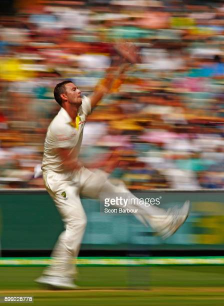 Josh Hazlewood of Australia bowls during day three of the Fourth Test Match in the 2017/18 Ashes series between Australia and England at Melbourne...