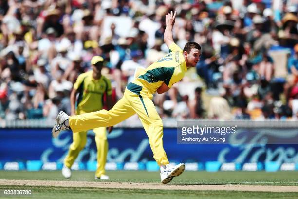 Josh Hazlewood of Australia bowls during game three of the One Day International series between New Zealand and Australia at Seddon Park on February...