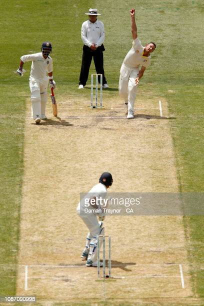 Josh Hazlewood of Australia bowls to Rohit Sharma of India during day two of the Third Test match in the series between Australia and India at...