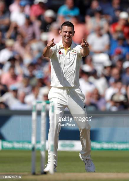 Josh Hazlewood of Australia celebrates after claiming his fifth wicket of the innings the wicket of Jack Leach of England during Day Two of the 3rd...