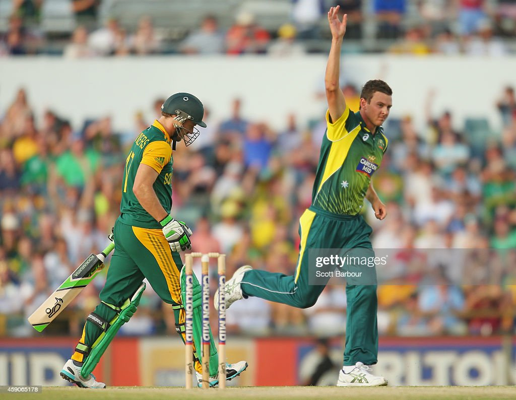 Josh Hazlewood of Australia celebrates after dismissing AB de Villiers of South Africa during the One Day International match between Australia and South Africa at WACA on November 16, 2014 in Perth, Australia.