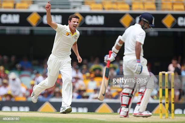 Josh Hazlewood of Australia celebrates after dismissing Ajinkya Rahane of India during day two of the 2nd Test match between Australia and India at...