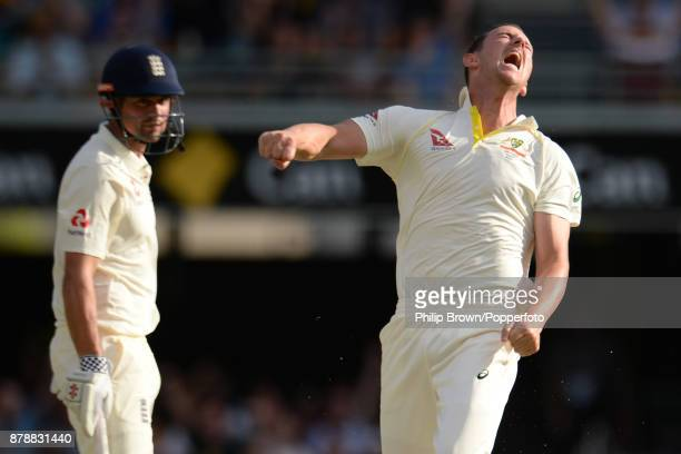 Josh Hazlewood of Australia celebrates after dismissing Alastair Cook of England on the third day of the first Ashes cricket test match between...