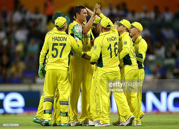Josh Hazlewood of Australia celebrates after dismissing Javed Ahmadi of Afghanistan during the 2015 ICC Cricket World Cup match between Australia and...