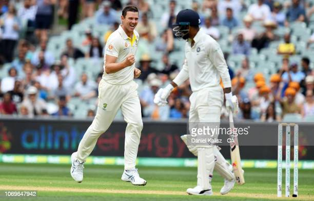 Josh Hazlewood of Australia celebrates after dismissing Kannanur Lokesh Rahul of India during day three of the First Test match in the series between...
