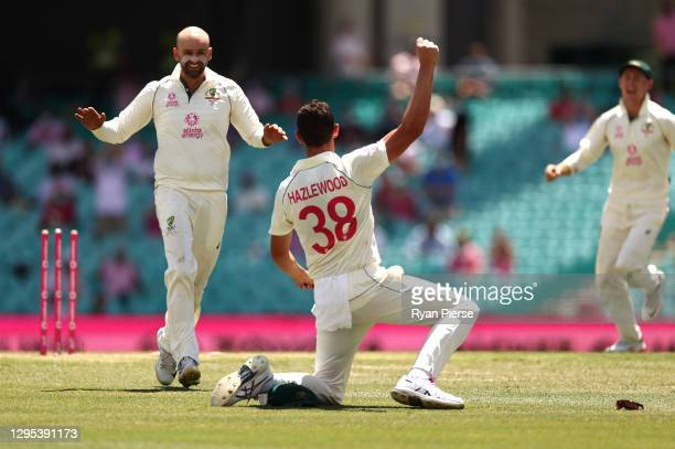 Josh Hazlewood of Australia celebrates after running out Hanuma Vihari of India during day three of the 3rd Test match in the series between...