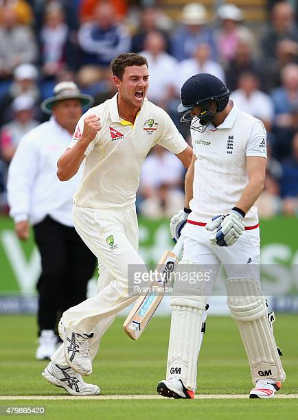 Josh Hazlewood of Australia celebrates after taking the wicket of Adam Lyth of England during day one of the 1st Investec Ashes Test match between...