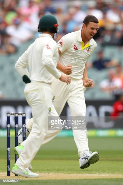 Josh Hazlewood of Australia celebrates after taking the wicket of James Vince of England during day three of the Second Test match during the 2017/18...